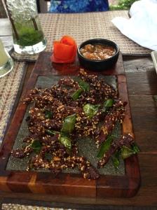 Deep Fried Beef with Sesame Seeds.